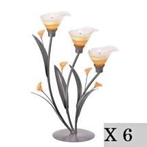 6 Lot Amber Lily Flower Tealight Candle Holder Wedding Centerpiece Light... - $81.32