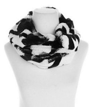 A by Adrienne Landau Luxe Infinity Cowl Scarf Black White Chenille Faux ... - €26,51 EUR