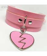 DWL BDSM Collar With Matching Broken Heart Charm In Pink - $16.99