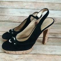 Michael Kors Women Suede Leather Slingback Cork Heels Size 7M - $24.75