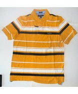 Tommy Hilfiger Mens Polo Shirt Striped Yellow White Black Size Large NWT - $38.79