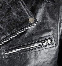 Mens Brando Biker Classic Vintage Motorcycle Black Leather Jacket image 3