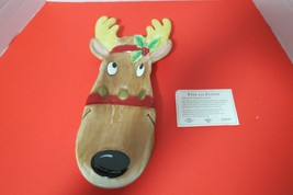 Fitz And Floyd Reindeer Server Tray 2005 Snack Therapy Ceramic In Original Box - $19.75