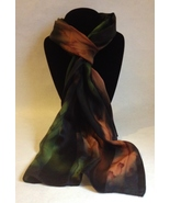 Hand Painted Silk Scarf Olive Green Brown Unique Rectangle Head Neck Wra... - $44.00