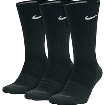 NEW NIKE DRI-FIT BLACK DRY CUSHIONED 3 PACK CREW SOCKS SIZE L MEN (8-12) - $14.84