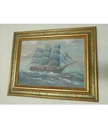 Antique T BAILEY Original Oil Painting on canvas Ship on the Ocean Framed - $909.95