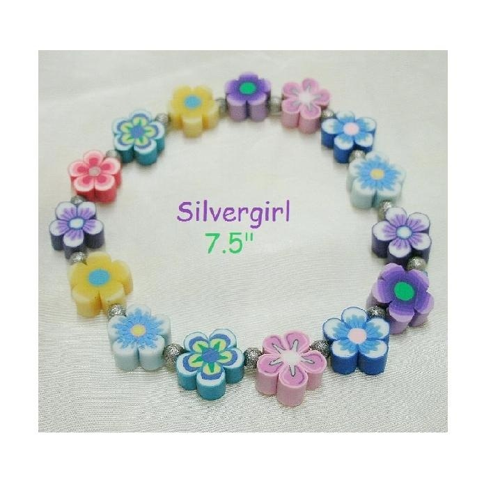 Polymer Clay Flower Glass Stretch Bracelet 6 Color Choices