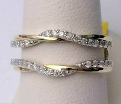 14K Yellow Gold Over Engagement Enhancer Wrap Ring Guard 1.40 Ct Round D... - $65.21