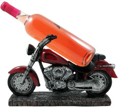 Vintage Motorcycle Wine Bottle Holder Sculpture For Classic Chopper and ... - $83.65