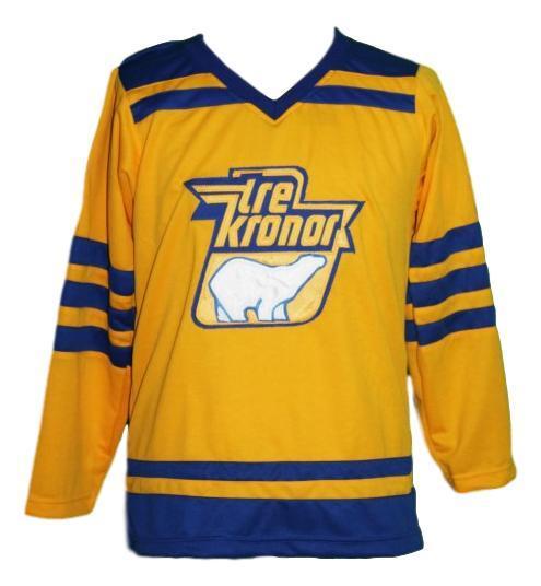 Lindbergh  1 custom tre kroner sweden retro hockey jersey yellow   1