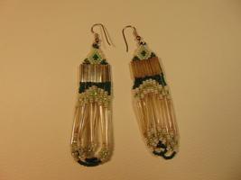 "3"" Native American, Glass Bead Dangle Earrings. - $17.99"