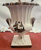 Vintage Glazed Brown on Cream Lighthouse Ceramic Two Handled Urn Planter Vase image 3