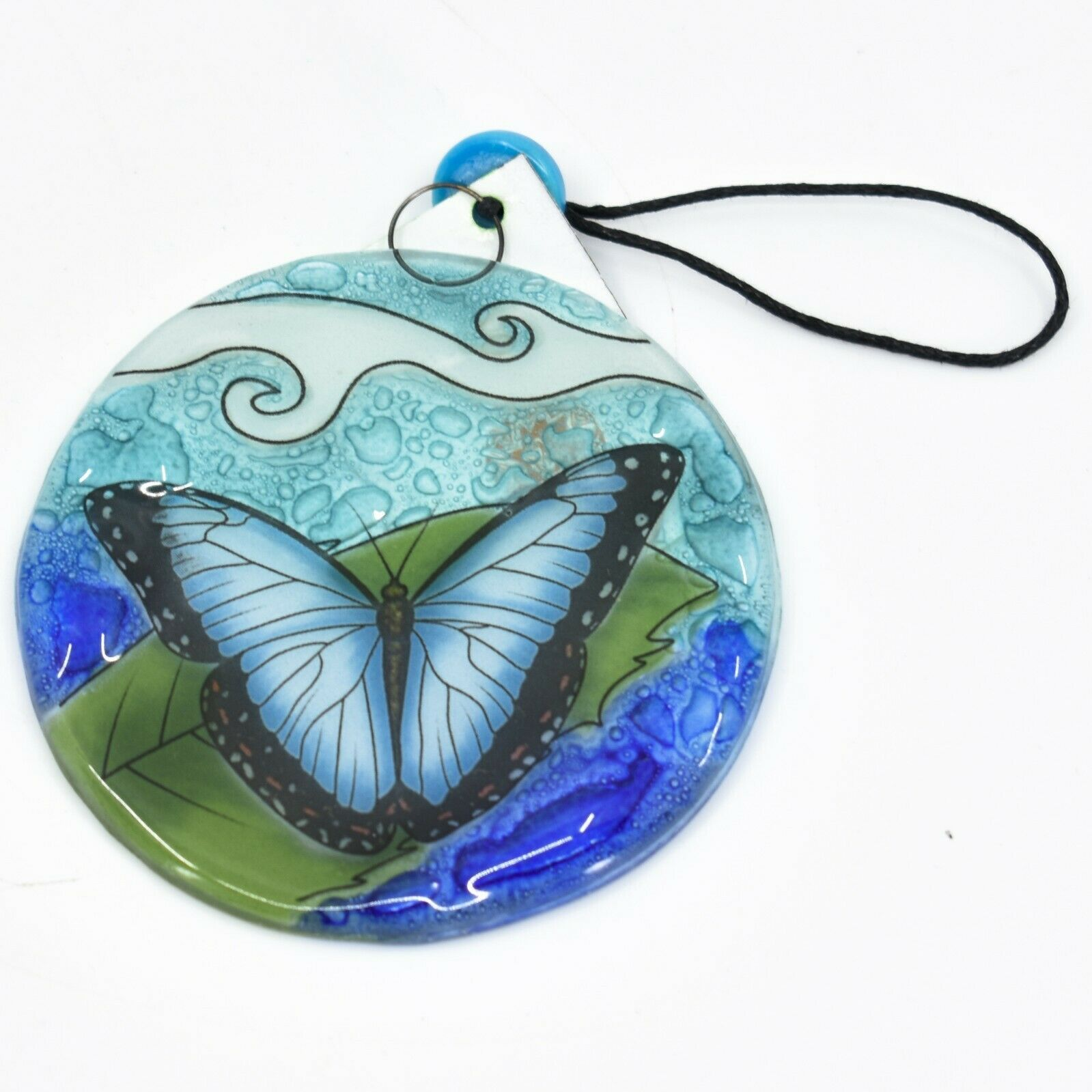Blue Morpho Butterfly Fused Art Glass Ornament Sun Catcher Handmade Ecuador