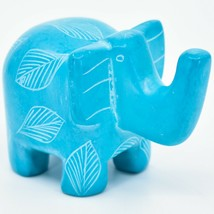 Vaneal Group Hand Crafted Carved Soapstone Sky Blue Elephant Figurine Made Kenya