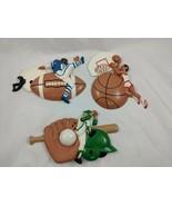 Plastic Sports Wall Hangings Burwood Products USA Vintage Football Baseball - $17.95