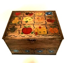 Vintage Metal Box Hinged Lid Hand Painted Fruits Flowers Signed 11 inche... - $58.40