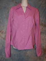 Womens Pink Silver Striped DCC Long Sleeve Shirt Size Medium excellent - $6.92