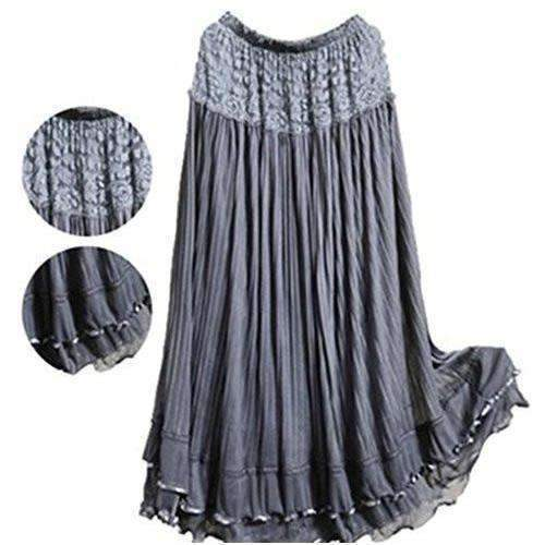 Isy dress for less skirts light gray one size lovely ruffled lace women long skirt 1403548467231
