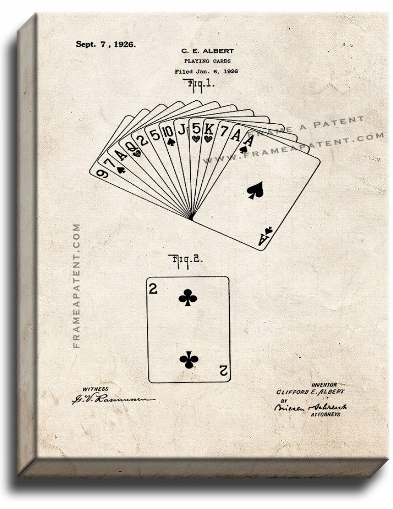 Primary image for Playing Cards Patent Print Old Look on Canvas