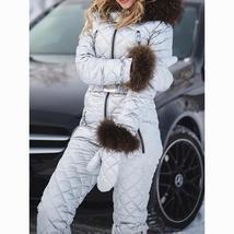 Womens Ski Suit Windproof Jumpsuit Hooded Playsuit Winter One Piece Snowsuit Glo image 3