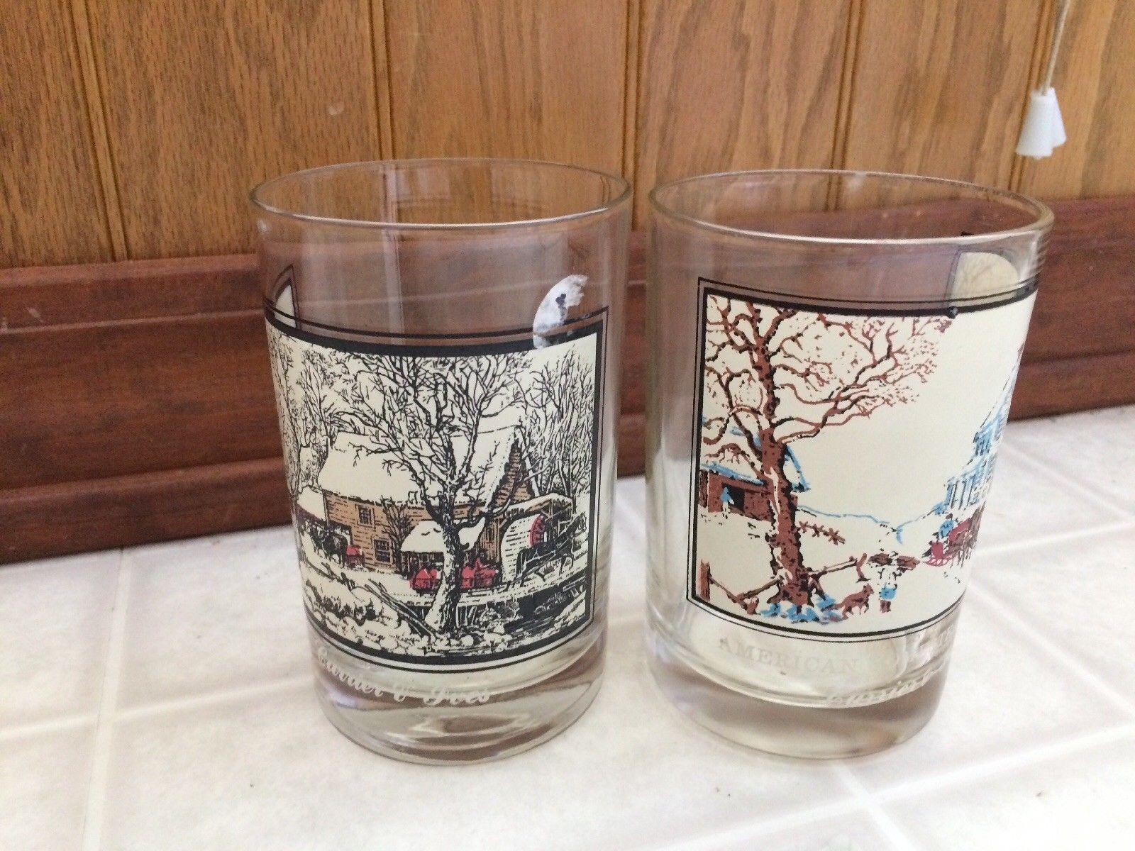 1981 Set Of 2 ARBY'S CURRIER AND IVES Tumblers Frozen Up & Homestead Winter