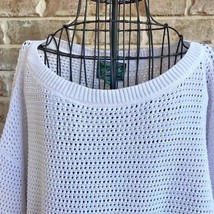Woolrich Womens Sz L Open Weave Sweater Short Sleeves Cream Color 100% C... - $38.79