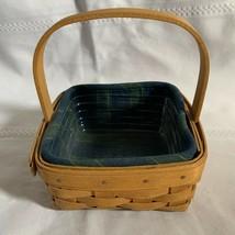 Longaberger 2008 Tarragon Booking Basket Combo Plaid Liner & Protector - $23.16