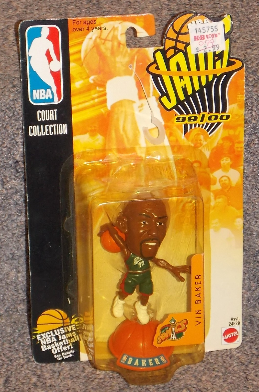 Primary image for Vintage 1998 NBA Jams Seattle Sonics Vin Baker Figure 99/00 New In The Package