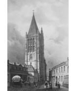 FRANCE Aigle Main Square & Church of Saint Martin  - SUPERB 1843 Antique... - $39.60