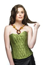 Pea Green Silk Overbust Top& Long Faux Leather Skirt PLUS SIZE Corset Prom Dress image 1