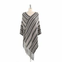 Women Winter Scarf Striped Autumn Poncho Warm Cashmere Ladies Shawl Tassel - $16.74