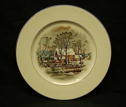 """Currier & Ives by Avon 10-5/8"""" Dinner Plate Winter Snow Scene w Smooth G... - $19.79"""