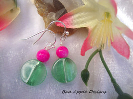 Round Coin Transparent Mint Green Glass Round Hot Pink Silver Dangle Ear... - $12.99