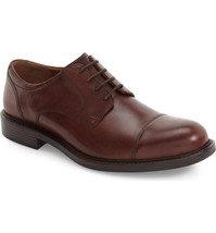 JOHNSTON & MURPHY Tabor Cap Toe Derby Leather Brown, Size 11 - $87.99