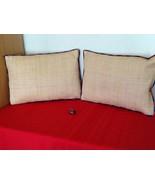 """Vtg Ralph Lauren Raffia 2 Piece Pillow Tan Duck Down Filled 12/18"""" - $60.00"""