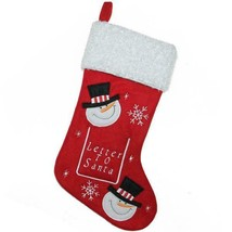 """16"""" Red and White Embroidered Snowmen Letter to Santa Christmas Stocking w - $13.99"""