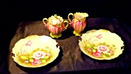 Green Red Floral cream and sugar with lid plus two plates Lefton NE 719 AA19-158 image 5