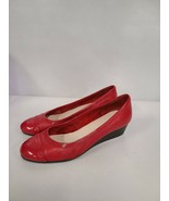 Cole Haan Womens Wedge Heel Pumps Size 8 Red Leather Round Cap Toe Slip On - $37.88