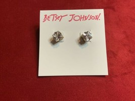 BETSEY JOHNSON Crystal Rhinestone Square Stud Earrings BJ - $29.69