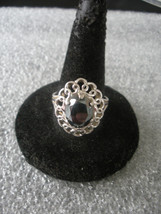 Sterling Silver Filigree Hematite Ring Size 7 1/2 - $17.34