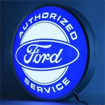 """New Ford Authorized Service LIGHT UP 15"""" round advertising sign Free Fast Ship - $139.00"""
