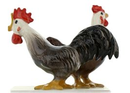 Hagen Renaker Miniature Chicken Leghorn Black Rooster & Brown Hen Set image 6