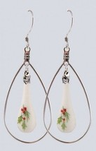 New Fenton Milk Glass Hoop Style Teardrop Earrings Holly Berry Jewelry Dangle N - $39.00