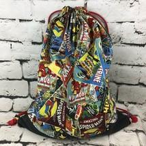 Retro Marvel Drawstring Backpack Comics Heros Spider-Man Thor Iron-Man Faded - $14.84