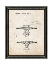 Skateboard Truck Patent Print Old Look with Black Wood Frame - $24.95+