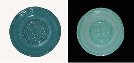 "4 IL MULINO Teal * Seafoam Mint Hobnail Scalloped Melamine 11"" Dinner Pl... - $49.99"
