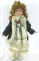Christmas Nostalgic Porcelain Doll Vintage Blond Hair Christmas Outfit V... - $13.50