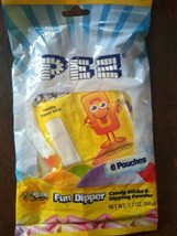 New Bags Of Pez Fun Dipper Candy Candies Sticks And Powder 6 Pouches 1.7 Oz - $7.91