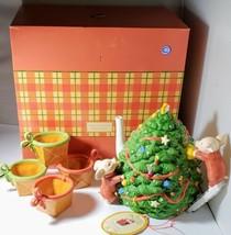 TOOT & PUDDLE TEA SET DEPT 56 CHRISTMAS TREE TEA POT HOLLY HOBBIE 2002 R... - $93.49