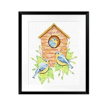 PANDA SUPERSTORE Birds House DIY Cross Stitch Stamped Kits Pre-Printed 11CT Embr